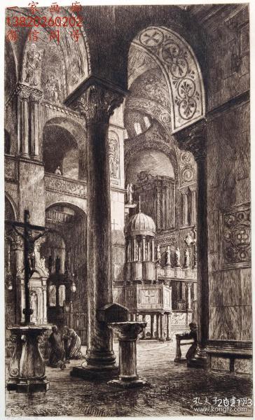 """""""原创版画""""1892年蚀刻铜版画《威尼斯圣马可大教堂的内部》— 版画家: C.O.MURRAY 作品  雕刻 36x26cm"""