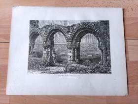 1878年木刻版画《中世纪建筑瑰宝:温洛克修道院,英格兰希洛普郡》(CHAPTER HOUSE,WENLOCK ABBEY)-- 温洛克修道院位于中世纪小镇马奇文洛克,始建于公元7世纪的盎格鲁撒克逊时期;公元680年,麦西亚国王梅雷瓦尔在这里建立,首任修道院院长米尔伯格后被封圣;公元12世纪被诺曼人重建,成为吕尼亚僧侣的修道院和著名朝圣地 -- 选自《如画的欧罗巴》-- 纸张尺寸32*25厘米