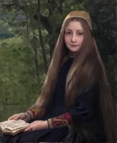 油画Jules Joseph Lefebvre23 看书的Grisélidis 50x40cm