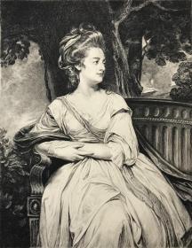 1904年蚀刻铜版画《诺斯夫人肖像》—英国肖像画三大师之一乔治·罗姆尼(George Romney,1734 - 1802年)作品 雕刻师Jean Patricot 27.3*18.2厘米