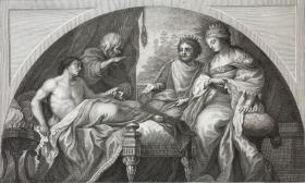 1791年大幅浅棕色调铜版画《安条克与王后斯特拉托尼丝 - 帝国王子暗恋继母》—荷兰黄金时代画家彼得罗·达·科尔托纳(Pietro da Cortona,1596 or 1597 - 1669年)作品 雕刻师Ferdinando Gregori 手工纸印制 纸张尺寸48.7*32厘米