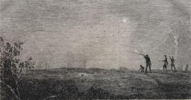 19世纪蚀刻铜版画《镜子狩猎》—法国东方主义先驱画家德康(Alexandre-Gabriel Decamps,1803 - 1860年)作品 雕刻师Edmond Ramus 手工水印纸印制 31.2*22.1厘米