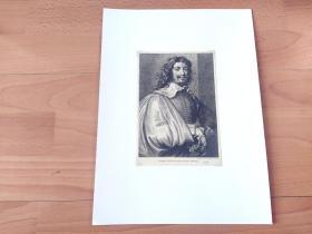 【凡·戴克版画作品】1884年铜凹版腐蚀《戴手套的阿德里安·布鲁维尔肖像》(Brouwer's Bildniss)-- 出自17世纪著名佛兰德斯画家,安东尼·凡·戴克(Anthony van Dyck,1599-1641)蚀刻作品 -- 阿德里安·布鲁维尔:17世纪著名佛兰德斯风俗画家,荷兰美术流派的创立者 -- 奥地利维也纳艺术画廊出版 -- 后附卡纸35*26厘米,版画纸张18.5*13厘米