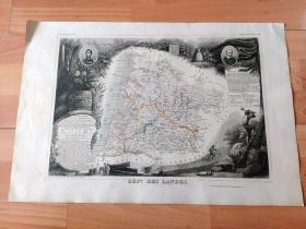 1849年铜版雕刻老地图《阿基坦大区朗德省行政地图》(DEPT DE LANDES)-- 朗德省是法国阿基坦大区所辖的省份,毗邻大西洋 -- 地图部分选自17世纪法国著名工程师和制图师,纪尧姆·勒瓦瑟 (Guillaume Levasseur de Beauplan,1595-1685)绘制的《法国国家地图集》,1849年巴黎出版,配有详细法文说明和当地风光 -- 地图尺寸53*36厘米,非常精美