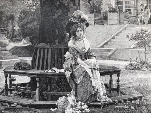1891年 德国木口木刻版画《玩牌者的妻子》 41*28厘米