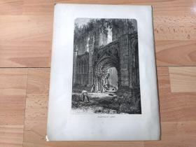 1878年木刻版画《中世纪建筑瑰宝:格拉斯顿伯里修道院,英格兰萨默赛特郡》(GLASTONBURG ABBEY)-- 格拉斯顿伯里修道院位于小镇格拉斯顿伯里,始建于公元7世纪,由盎格鲁撒克逊时期的威塞克斯国王(Wessex)征服古萨默赛特郡后修建,是传说中亚瑟王和王后桂妮薇儿的埋骨之地;公元11世纪格拉斯顿伯里修道院发展成英格兰最富有的修道院 -- 选自《如画的欧罗巴》-- 纸张尺寸32*25厘米