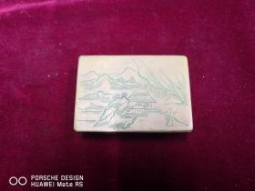民国期间  山水人物   手工雕刻 墨盒一个  尺寸7.5*11*3.5厘米