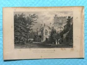 1832年钢版画--英国的德文郡和康沃尔郡之旅 《德文郡.巴克兰修道院buckland abbey》纸张尺寸13.5*21厘米