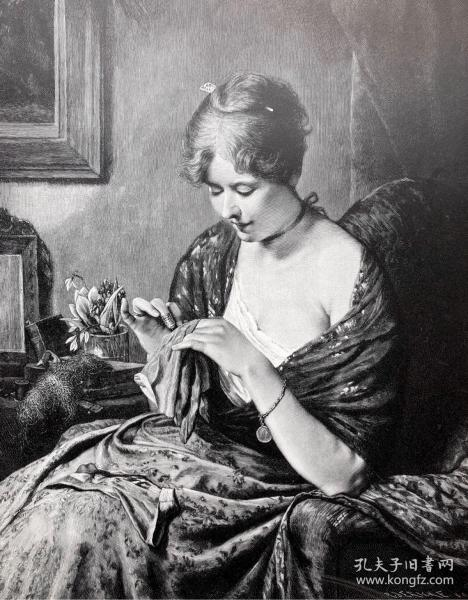 1891年 德国木口木刻版画 《缝补》41*28厘米