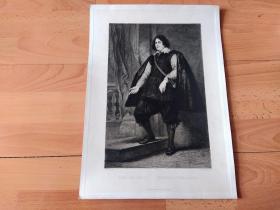 1880年铜版蚀刻版画《克洛伊公爵,亨利二世肖像》(DUE DE CROI;HERZOG VOR CROI)-- 出自17世纪著名佛兰德斯画家,安东尼·凡·戴克(Anthony van Dyck,1599-1641)作于1624年的油画,藏于慕尼黑古代绘画陈列馆 -- 雕刻师:Leonhard Johann Raab (1825–1899)-- 版画纸张41*29.5厘米