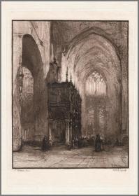 【限量100张仿羊皮纸印本】1888年蚀刻版画《约翰内斯·波斯波姆绘画作品》,33.5*23cm