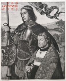 """1892年照相凹版画《圣维克托与捐献者》—佛兰芒画家""""雨果·凡·德·古斯(Hugo van der Goes,1440?-1482年)""""作品  36x26cm"""