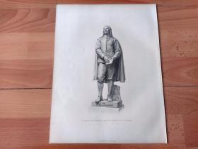 1876年钢版画《大理石雕塑:诗人,约翰·班扬》(John Bunyan)-- 出自19世纪英国著名雕塑家,Joseph Edgar Boehm(1834–1890)的雕塑作品,雕刻师:H.BALDING -- 约翰·班扬(1628-1688),英国著名作家、布道家,出生于英格兰东部贝德福德;青年时期曾被征入革命的议会军,后在故乡从事传教活动 -- 选自当年艺术日志 -- 版画纸张32*24厘米