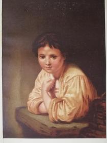1868年彩色石版画《伦勃朗名作:窗边的女孩A Girl at a Window》非手工上色,纸张尺寸20*27.8厘米,手工粘贴,荷兰画家伦勃朗·哈曼斯祖·范·里恩(Rembrandt Harmenszoon van Rijn1606-1669)--这幅画创作于1645年,当时伦勃朗39岁,介于流派和肖像画之间。女孩的身份仍然不确定,按照伦勃朗当时的状况,可能是他家的女仆