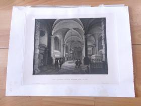 1891年铜版蚀刻版画《烛光下的大教堂》(DAS INNERE EINER KIRCHE BEI LICHT)-- 出自17世纪弗兰德斯画家、建筑师,安东尼·德·勒尔梅(Antonie de Lorme,1610–1673)的油画作品 -- 雕刻师L.SCHULZ -- 维也纳艺术画廊出版发行 -- 版画纸张39*29厘米