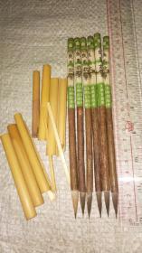 老毛笔一组,文明堂萩笔,狼毫紫毫。瑕疵品相。低拍处埋