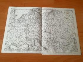 1848年铜版雕刻地图《19世纪初的中欧地区铁路分布图》(Eisenbahnkarte von Mitteleuropa)-- 1765年,英国人瓦特发明了蒸汽机,从此,揭开了人类工业革命的序幕;1769年,法国工程师库纳研制成功第一辆蒸汽机车1801年,英国煤矿工程师特里维克研制成功第一辆能在铁轨上行使的蒸汽机车 -- 出自《世界地理百科》-- 地图尺寸48*30厘米