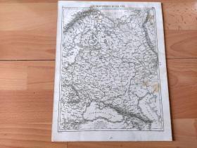 1848年铜版雕刻地图《19世纪中叶的沙皇俄国(俄罗斯帝国)疆域图:欧洲部分》(EUPORPAISCHES RUSSLAND)-- 俄罗斯帝国(1546-1917),简称沙俄,领土西部包括今芬兰、波兰,与德意志帝国、奥匈帝国、罗马尼亚接壤,南部与奥斯曼帝国接壤 -- 出自《世界地理百科》-- 地图尺寸30*24厘米