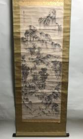 初学桑山玉洲 21岁投师池大雅 后转师中国清代画家伊孚九 著名画家 野吕介石(1747-1828,又称第五隆)大幅《山水图》 纸本 立轴  全尺寸:184X58cm 画心尺寸:120X43cm 题款:第五隆 钤印:介石之印 原装原裱 紫檀轴头 画心有折痕
