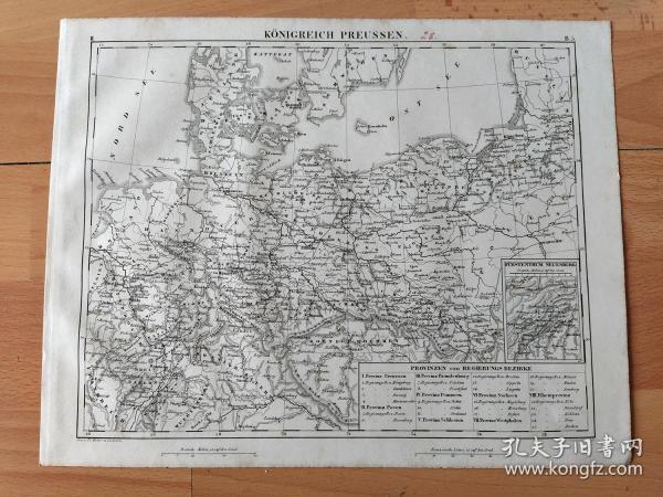 1848年铜版雕刻地图《18世纪的普鲁士王国疆域图(神圣罗马帝国最强大的邦国之一)》(KONIGREICH PREUSSEN)-- 普鲁士王国位于欧洲的中部,1701年,勃兰登堡-普鲁士公爵腓特烈三世支持领导神圣罗马帝国的奥地利哈布斯堡王朝向法国波旁王朝宣战,借以换取普鲁士国王称号;19世纪中期普鲁士王国统一了除奥地利帝国外的德意志各邦国,1871年建立德意志帝国 -- 地图尺寸30*24厘米