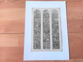 1885年木刻版画《世界艺术瑰宝:法国昂热大教堂彩绘,圣马丁的传奇一生》(The Legend of St Martin)-- 圣马丁(St Martin,约公元316~397年),法国的主保圣人,图尔的主教;据传他把大氅施予一个乞丐后离开了军队。360年定居普瓦蒂埃。使高卢信奉基督教,并在高卢等地建立了多所隐修院 -- 选自当年艺术日志 -- 后附卡纸30*21厘米,版画纸张22*15厘米