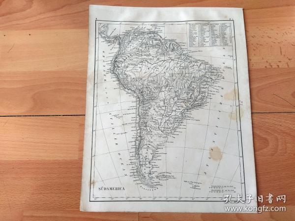 1848年铜版雕刻地图《图版32:18世纪欧洲殖民者控制下的南美行政地图》(SUDAMERIKA)-- 18世纪的南美大陆主要包括:1.西班牙总督辖区,拉普拉塔区(安第斯山脉以东,今阿根廷、乌拉圭), 新格拉纳达区(今哥伦比亚、厄瓜多尔、委内瑞拉),秘鲁区(安第斯山脉以西,含智利);2.葡萄牙控制下的巴西;3. 英法荷等国在北部圭亚那的殖民地 -- 出自《世界地理百科》-- 地图尺寸30*24厘米
