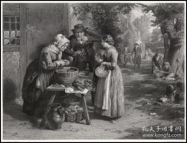 1863年钢版画《又是一年牡蛎肥美时》,31.8*23cm