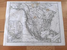 1848年铜版雕刻地图《1848年的北美大陆地图与各国疆域,及纽约港周边地图》(NORDAMERIKA)-- 图中美国疆域:19世纪上半夜夺取墨西哥领土,加利福尼亚(1819年),德克萨斯(1845年),新墨西哥(1848年);1848年并入俄勒冈(原英国控制),北美最西北部的阿拉斯加还属于俄罗斯帝国(1867年美国购买);加拿大地区尚为英国殖民地 --《世界地理百科》-- 地图尺寸30*24厘米