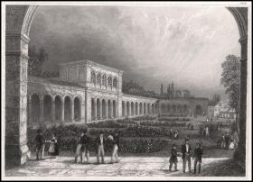 1840年钢版画《温泉疗养院广场,巴德基辛格》,27*19.4cm