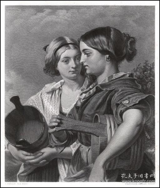 1876年钢版画《苏格兰少女》,32.3*23cm