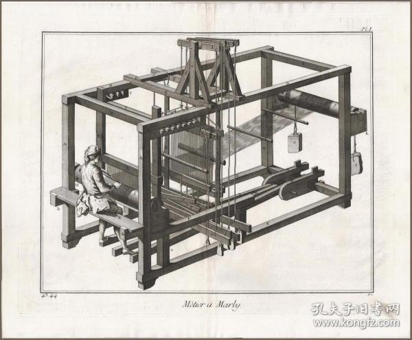 【启蒙运动重要文献,初版本狄德罗《百科全书》】1772年铜版画《织布机》,49*40cm