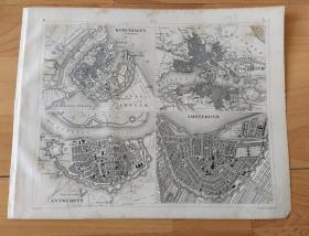 1848年铜版雕刻地图《欧洲历史地图:大航海时代的欧洲北部著名港口城市平面图,1. 丹麦哥本哈根;2. 瑞典斯德哥尔摩;3. 比利时安特卫普;4. 荷兰阿姆斯特丹 》(KOPENHAGEN;STOCHHOLM;ANTWERPEN;AMSTERDAM)-- 地图尺寸30*24厘米