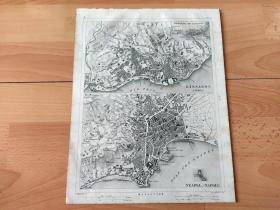 1848年铜版雕刻地图《欧洲历史地图图版40:大航海时代的欧洲著名港口城市平面图,葡萄牙里斯本与意大利那不勒斯》(LISSABON;NEAPEL)-- 里斯本是葡萄牙首都,位于该国西部,城北为辛特拉山,城南临塔古斯河,距离大西洋不到12公里,是欧洲大陆最西端的城市;那不勒斯是意大利的主要海港之一,始建于公元前6世纪,曾是罗马皇帝的避暑胜地 -- 出自《世界地理百科》-- 地图尺寸30*24厘米