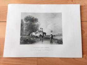 1840年钢版画《林中小溪》(RETURNING FROM MARKET)-- 出自19世纪初著名英国风景画家,奥古斯都·沃尔·考尔科特爵士(Augustus Wall Callcott,1779–1844)作于1834年的油画,藏于伦敦泰特美术馆 --《英国艺术画廊》出版 -- 版画纸张28*20厘米