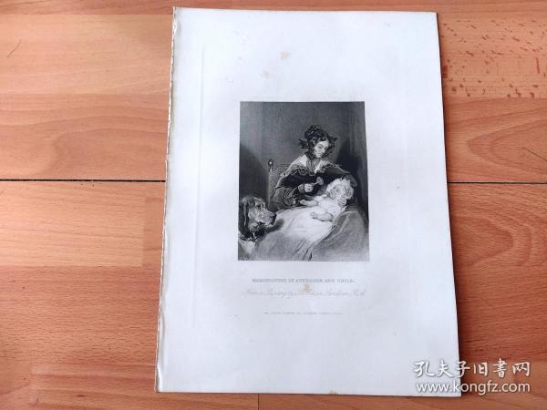 1840年钢版画《舐犊之爱:阿伯康公爵夫人,路易莎·简·罗素与她襁褓中的女儿》(MARCHIONESS OF ABERCORN AND CHILD)-- 出自英国维多利亚时期著名画家,埃德温·兰德希尔(Edwin Landseer)作于1834年的油画 -- 罗素夫人(1812–1905),入画时年仅22岁,她的女儿路易莎·哈密尔顿则刚刚降生 --《英国艺术画廊》出版 -- 版画纸张28*20厘米