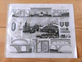 1848年钢版画《科学技术的发展历程图版7:钢结构铁路桥梁的结构原理与施工过程,以泰晤士河上的威斯敏斯特大桥为例》(Westminster Bridge)-- 威斯敏斯特桥是一座位于英国伦敦的拱桥,跨越泰晤士河,连接了西岸的威斯敏斯特市和东岸的兰贝斯,英国国会、大本钟及伦敦眼等名胜分列于桥的两端;始建于1750年,1862年重建 -- 出自《世界古代与现代航海史》-- 版画纸张30*24厘米