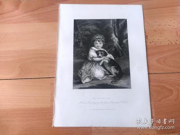 1840年钢版画《好朋友:简·鲍尔斯小姐与她的爱犬》(ME AND MY DOG,Miss Jane Bowles)-- 出自18世纪著名英国画家,英国皇家美术院首任院长,乔舒亚·雷诺兹(Joshua Reynolds,1723-1792)作于1775年的油画,藏于英国伦敦华莱士收藏馆 --《英国艺术画廊》出版 -- 版画纸张28*20厘米