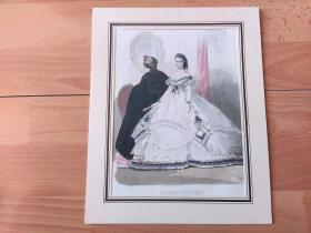 1845年手工上色钢版画《维多利亚时代的时尚丽人:照镜子》(LES MODES PARISIENNES)-- 卡纸画框28*22.5厘米,版画纸张27*20厘米