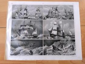 """1848年钢版画《航海与造船业发展历程图版27: 大航海时代的远洋巨轮,三桅大型帆船》(Barque thrown on one side)-- 为了制造更大和更好的船只漂洋过海去寻找新的财富,16世纪西班牙和葡萄牙的造船家把酒船和快帆船合并,建成三桅帆船;法国文豪雨果称赞""""人类的一种伟大杰作"""",改变了西方在造船技术上落后于东方的历史 -- 出自《世界古代与现代航海史》-- 版画纸张30*24厘米"""