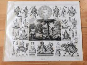1848年钢版画《宗教历史与宗教崇拜图版2: 古代巴比伦宗教(以宇宙间重要的自然现象为崇拜),与黄道十二星座的发明》(The Signs of the Zodiac)-- 传说大约3500年前,美索不达米亚平原上的巴比伦牧羊人在晚上把天上的的星星,连起来想像成12种模样,它们有白羊、金牛、双子、巨蟹、狮子、室女、天秤、天蝎、人马、摩羯、宝瓶、双鱼,统称黄道十二星座 -- 版画纸张30*24厘米