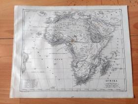 1848年铜版雕刻地图《图版30:非洲大陆地形分布图》(AFRIKA)-- 如图所示:非洲大陆的西北部为阿特拉斯山脉,北部为尼罗河平原和环地中海平原,中北部为撒哈拉大沙漠,东部为俄塞俄比亚高原和东非大裂谷,中部为刚果盆地,南部与东南部为连绵的非洲高原(东非高原、南非高原)-- 非洲全称阿非利加洲,位于东半球西部,欧洲以南,亚洲之西,东濒印度洋,西临大西洋,纵跨赤道南北 -- 地图尺寸30*24厘米