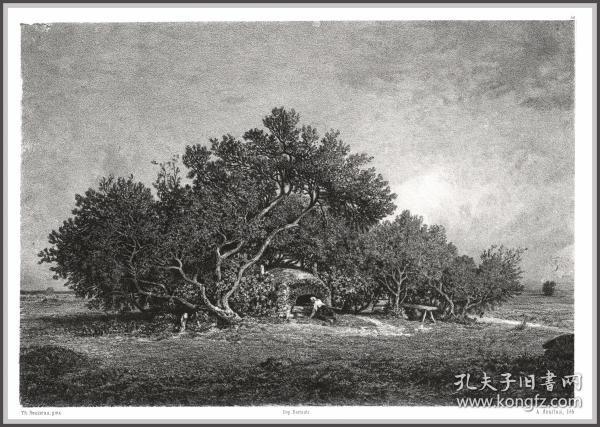 【手绘落石艺术石版画】1855年石版画《卢梭作品》,44.4*31cm