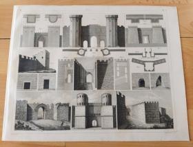 1848年钢版画《战争场景图版42:欧洲中世纪的城堡结构》(Castle)-- 城堡是欧洲中世纪的产物,公元1066年至1400年是兴建城堡的鼎盛时期;城堡的建筑艺术在发展过程中,主要形成两种有代表性的风格:罗马式与哥特式 -- 德国出版《世界战争史》-- 版画纸张30*24厘米
