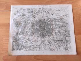 1848年铜版雕刻地图《图版35:法兰西岛地区(以巴黎为核心的大都会区)行政图》(PARIS ALS WAFFENPLATZ)-- 法兰西岛地区包括分布在巴黎城墙周围、由同巴黎连成一片的市区组成的上塞纳省、瓦勒德马恩省和塞纳-圣但尼省 -- 巴黎地处法国北部,塞纳河蜿蜒穿过城市,形成两座河心岛(Île de la Cité和圣路易) -- 出自《世界地理百科》-- 地图尺寸30*24厘米