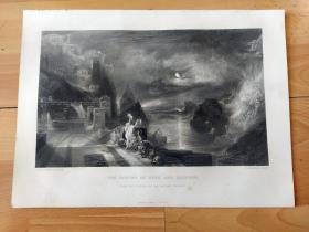 【透纳】1880年钢版画《海洛和利安德的离别》(THE PARTING OF HERO AND LEANDER)-- 出自西方艺术史最杰出的风景画家之一,威廉·透纳(William Turner)作于1837的油画,藏于英国国家美术馆 --油画主题源自古希腊诗人穆赛欧斯最著名的爱情诗歌《海洛和利安德》,海洛是阿佛洛狄忒的女祭司,利安德每个晚上游过达达尼尔海峡与海洛相会 -- 版画纸张32*24厘米