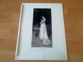 1889年铜版蚀刻版画《抱水罐的少女》(Zufrieden)-- 出自19世纪意大利画家,Policarpo Bedini(1817–1883)的油画作品 -- 雕刻师:W. Woernle -- 维也纳艺术画廊出版 -- 版画纸张39*29厘米