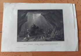 """19世纪钢版画《""""煤都""""纽卡斯尔的赫本煤矿,英格兰》(STEINKOHLENBERGWERKS bei Newcastle)-- 工业革命发源于18世纪英国,煤炭产业在当时享有重要地位,纽卡斯尔也因此扬名天下;赫本煤矿(Hebburn Colliery)是纽卡斯尔最古老、最大的煤矿之一,""""火车之父""""乔治·史蒂芬森(1781-1848)少年时就曾在这座家乡的煤矿做过矿工 -- 版画纸张24*16厘米"""