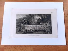 1889年铜版蚀刻《饮马池》(An der Pferdetranke)-- 出自19世纪德国动物马匹与风景画家,杜塞尔多夫美术学院教授,阿道夫·施赖尔(Adolf Schreyer,1828–1899)的油画作品 -- 维也纳艺术画廊出版 -- 后附卡纸34*25厘米,版画22.5*14.5厘米