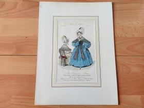 1838年手工上色铜版画《时尚巴黎:时装模特,传播美丽的使者》(Petit Courrier des Dames)-- 卡纸画框34*26厘米,版画纸张23*14.5厘米