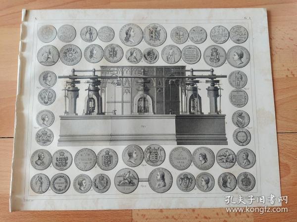 1848年钢版画《科学技术的发展历程图版21:造币业的发展历程,机械化铸币机的出现与各国银币图案》(Coining machine)-- 欧洲人16世纪的时候深感传统锤制工艺效率低,而且成品质量良莠不齐。于是,一种全新的螺旋压制机诞生,用来替代传统的锤制工艺;其实也就是人力扭动机器上方的螺杆,让一个模具降下来撞击安放了币坯的另一面模具 -- 出自《世界古代与现代航海史》-- 版画纸张30*24厘米